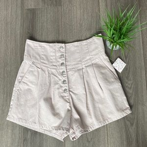Free People Paris Pleated Denim Shorts Macaroon 30